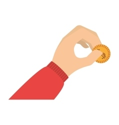 Hand holding coin with red sleeve vector