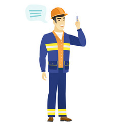 young asian builder with speech bubble vector image