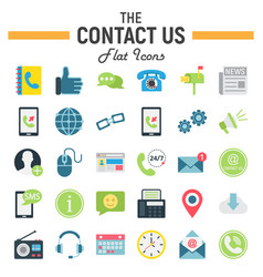 contact us flat icon set web button signs vector image