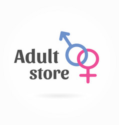 Gender symbol logo template sex shop icon vector