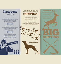 Hunting brochure flyers template design vector