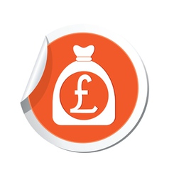 Moneybag pound icon orange label vector
