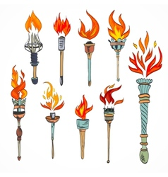Torch icon sketch vector image