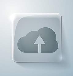 Glass square icon with highlights cloud download vector