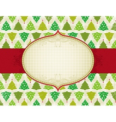 Beige christmas background with christmas trees vector