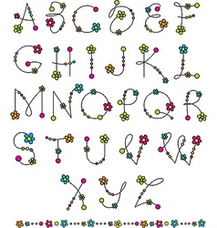 Latin alphabet flowers vector