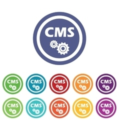 Cms settings signs colored set vector