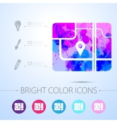 Map icon with infographic elements vector