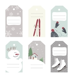 Winter tags with outdoor activities vector