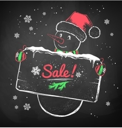 Christmas snowman with sale signboard vector