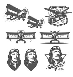 Set of vintage aircraft design elements vector image