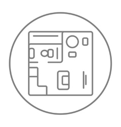 House interior with furniture line icon vector