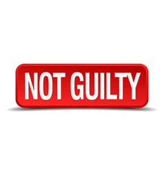Not guilty red 3d square button isolated on white vector