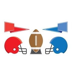 Rugby ball and helmet American Football vector image