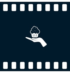 Flat paper cut style icon of cake vector