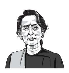 Aung san suu kyi portrait vector