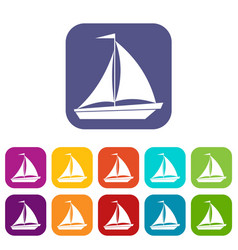 boat with sails icons set vector image vector image