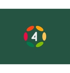 Color number 4 logo icon design hub frame vector