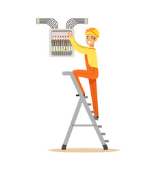 Electrician standing on a stepladder and screwing vector