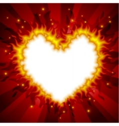 fiery heart card vector image