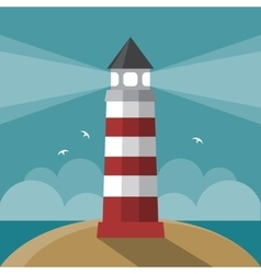 Flat cartoon lighthouse vector image