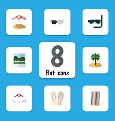 Flat icon season set of beach sandals recliner vector