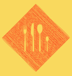 Fork spoon and knife sign red scribble vector