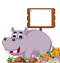 Funny hippo cartoon with blank board vector