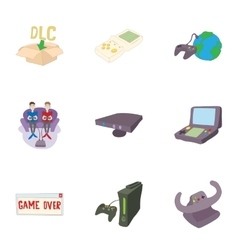 Game online icons set cartoon style vector