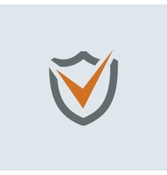Gray-orange Shield Check Mark Round Icon vector image