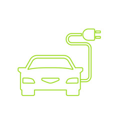 green electric car charging point icon vector image vector image