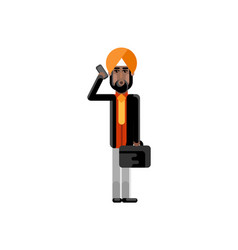 indian man with suitcase talking on phone vector image vector image