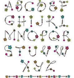 Latin alphabet flowers vector
