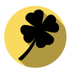 leaf clover sign flat black icon with vector image vector image