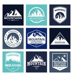 Mountain travel outdoor adventures logo set vector