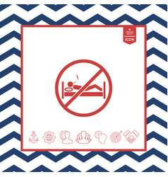 no smoking in bed - prohibition icon vector image