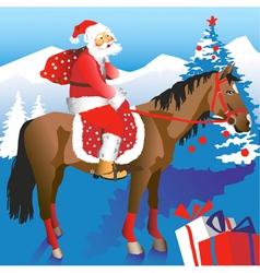Santa on Horseback vector image vector image