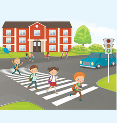 school children cross road on pedestrian crossing vector image