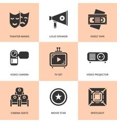 Set of black cinema movie icons vector image