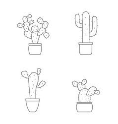 Set of monochrome icons with cactus vector