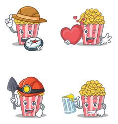 Set of popcorn character with explorer heart miner vector