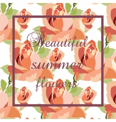 Watercolor red roses card background vector