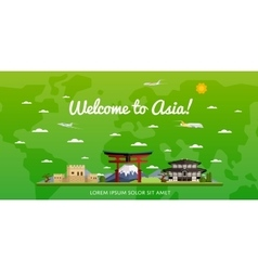 Welcome to asia poster with famous attractions vector
