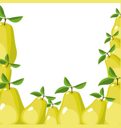 White background with border of pears fruits vector