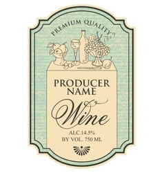 wine label with still life vector image
