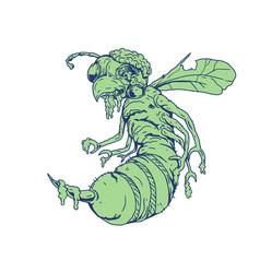Zombie bee cartoon vector