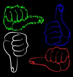 Hand gesture yes and no vector