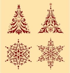Set of christmas ornaments vector