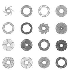 Photo diaphragm icons set monochrome style vector