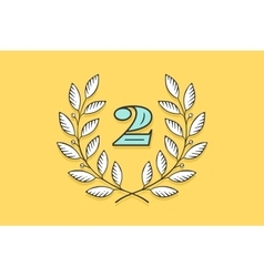Laurel wreath icon with number Two vector image